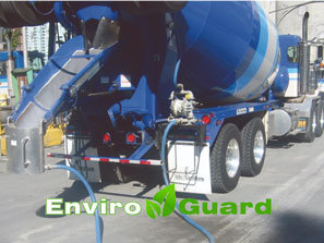 EnviroGuard Chute Rinse Out System on mix truck